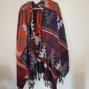 Very large aztek style puncho boho,